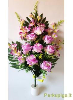 Rožių puokštė plokščia violetinė sp.