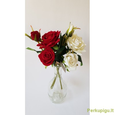 Rožių šakelės 3-jų žiedų,  35 cm